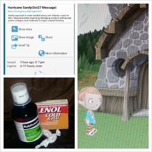 Hurricane Sandy alert, assorted cold meds, Glitch