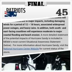 Patriots 45-Rams 7, Hurricane Sandy, ABC Always Be Charging