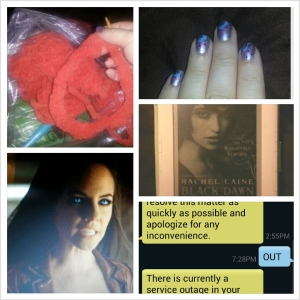 knitting, Bo from Lost Girl, nail art, a Morganville Vampires book on Kindle, text from Comcast about outage